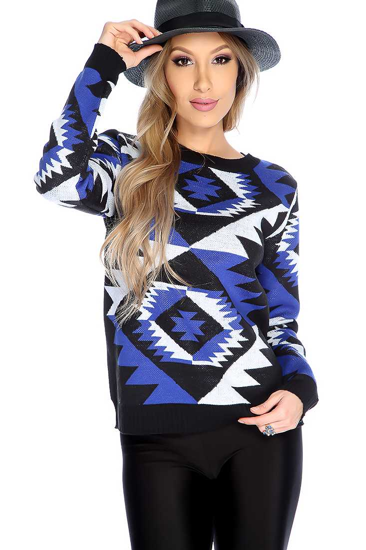 Blue Black Tribal Print Long Sleeve Sweater