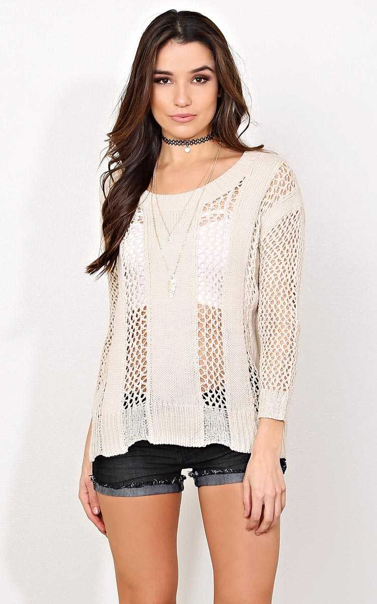Cold Front Knit Sweater - - Beige in Size by Styles For Less