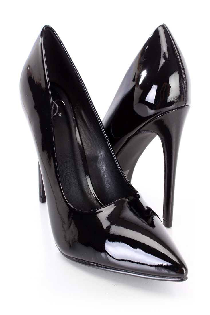 Black Pointed Toe Single Sole Pump High Heels Patent