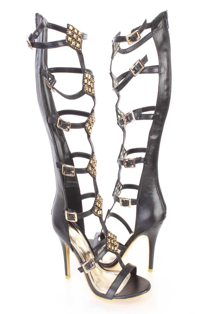Black Faceted Beaded Strappy Gladiator Heels Faux Leather