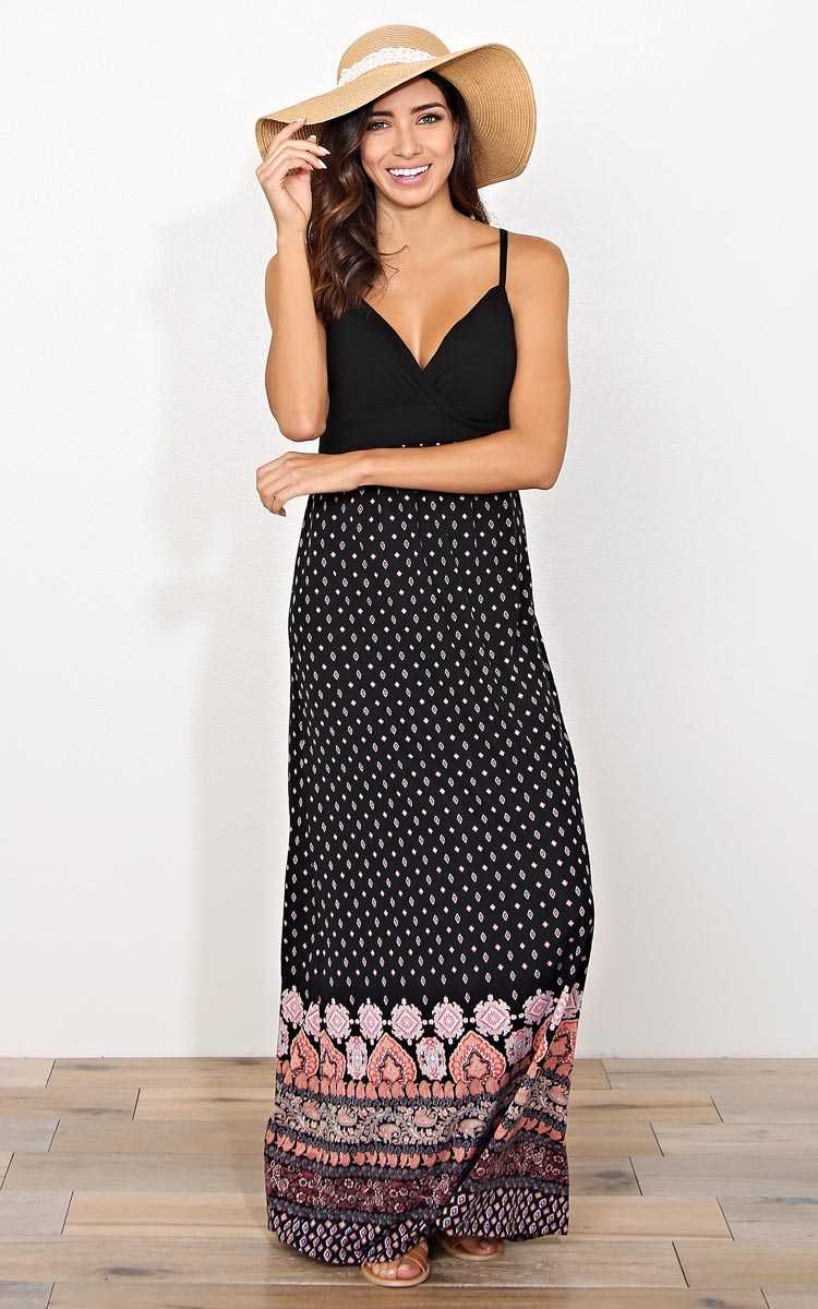 Sweetheart Border Print Maxi Dress - - Black Combo in Size by Styles For Less