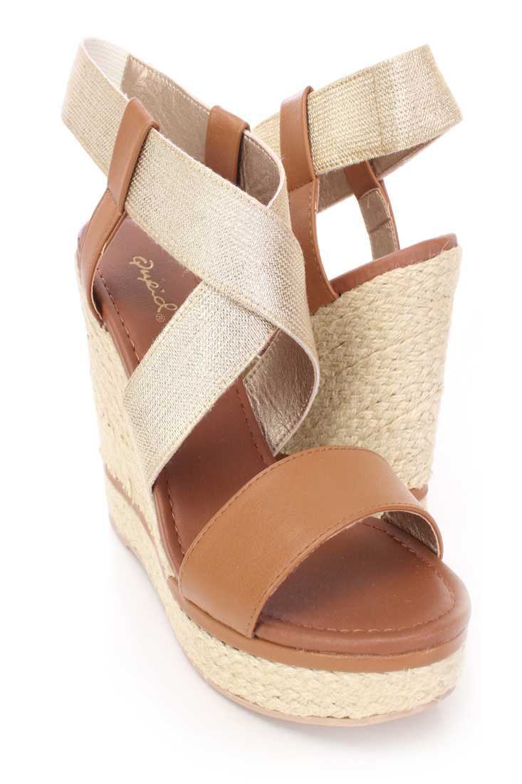 Camel Cross Strappy Espadrille Wedges Faux Leather