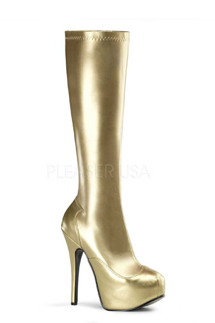 Gold Knee High Platform Heel Boots Metallic Faux Leather
