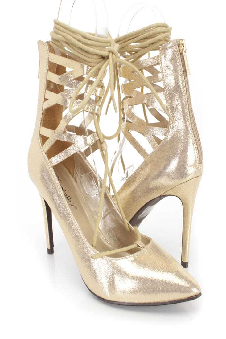 Gold Wrap Around Tie Single Sole High Heels Shimmer Fabric