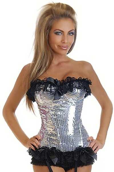 Silver Sequin Burlesque Underwire Corset Intimates