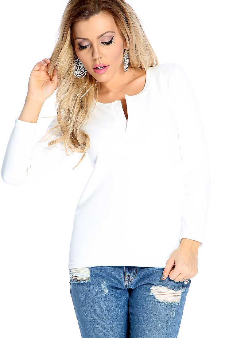 Comfy White Long Sleeve Button Up Casual Sweater Top