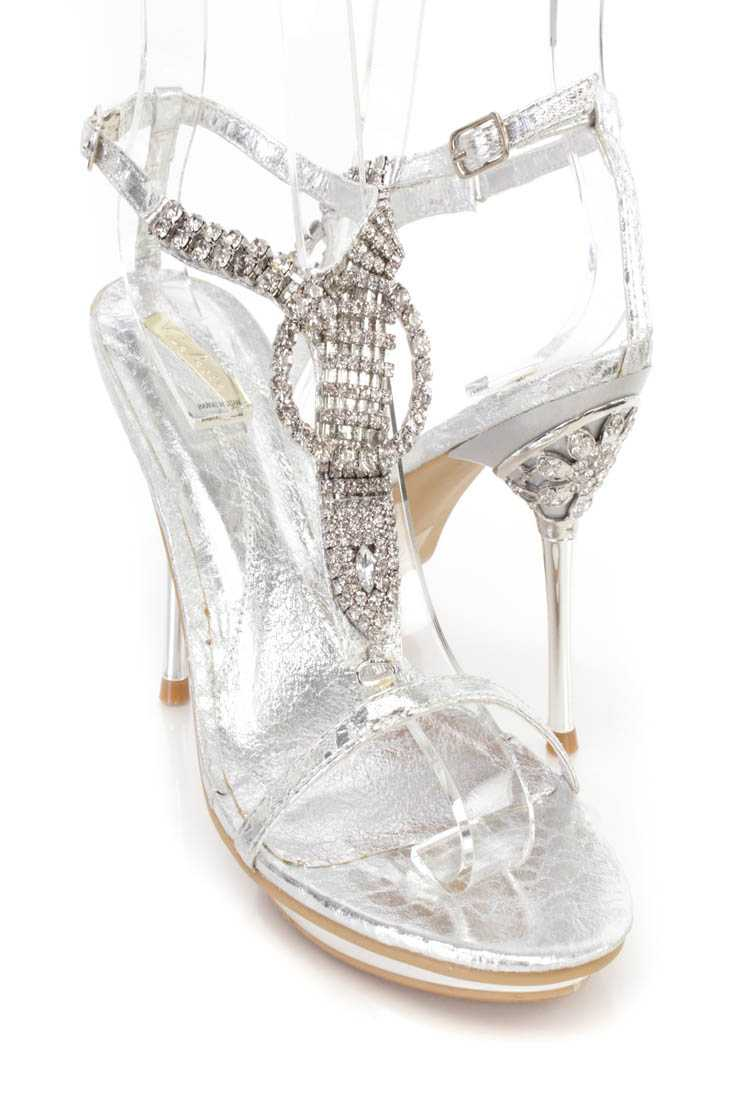 Silver Rhinestones T Strap Sandal High Heels Faux Leather