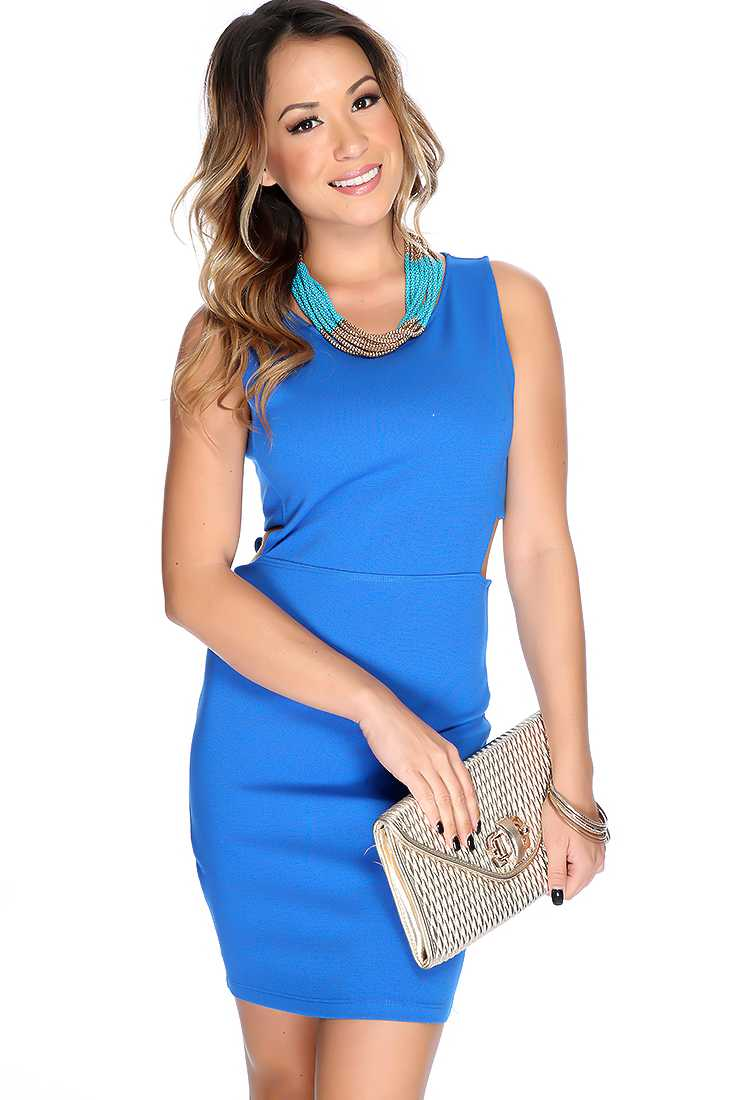 Sexy Blue Sleeveless Side Cut Out Bodycon Party Dress