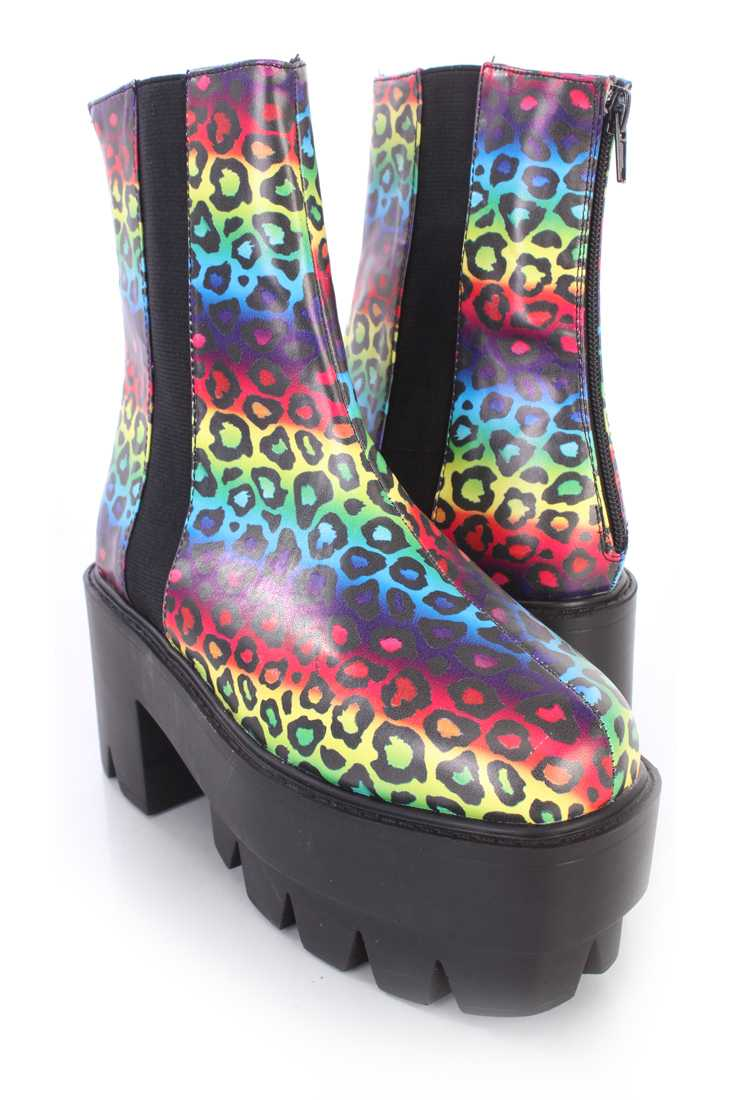 Rainbow Leopard Traction Sole Platform Booties Faux Leather