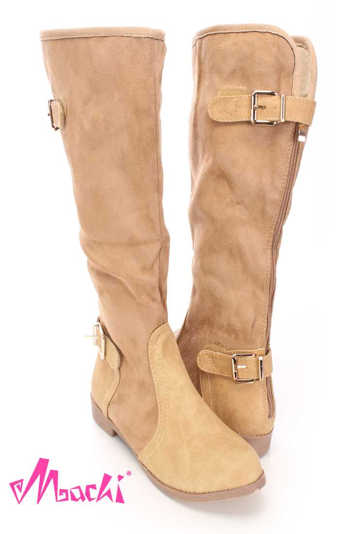 Beige Mid Calf Strappy Boots Faux Suede Leather