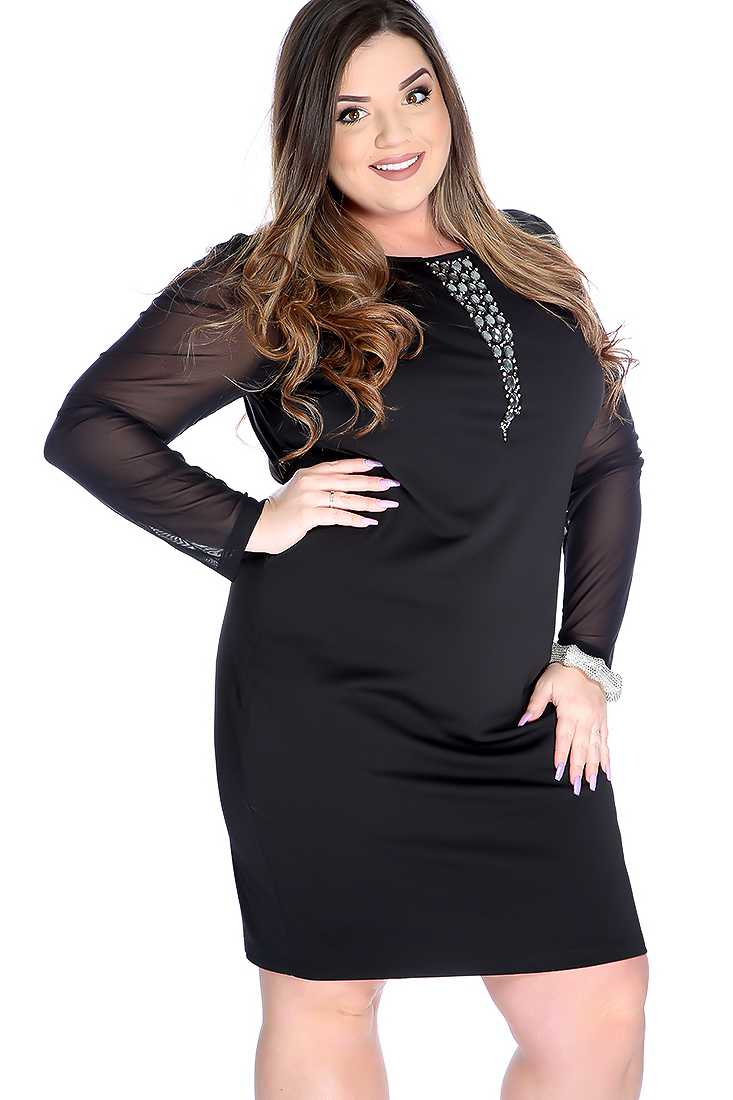Sexy Black Plus Size Mesh Long Sleeve Sequence Detail Cocktail Dress