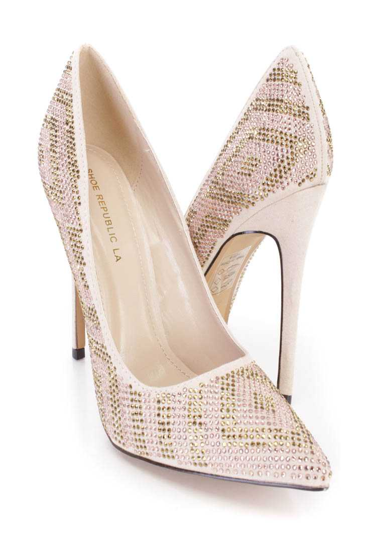 Nude Rhinestone Design Single Sole Pump Heels Faux Suede