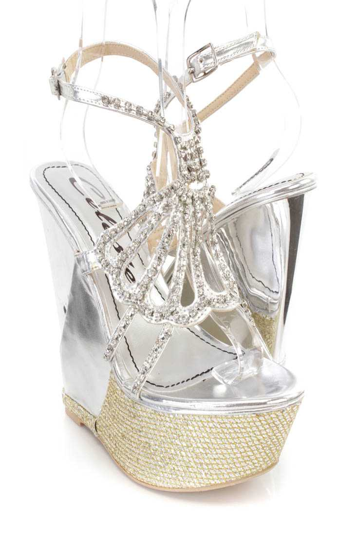 Silver Rhinestone Platform Wedges Faux Leather