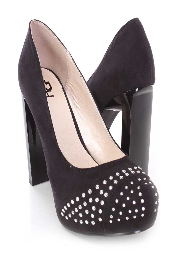 Black Studded Pump Heels Faux Suede