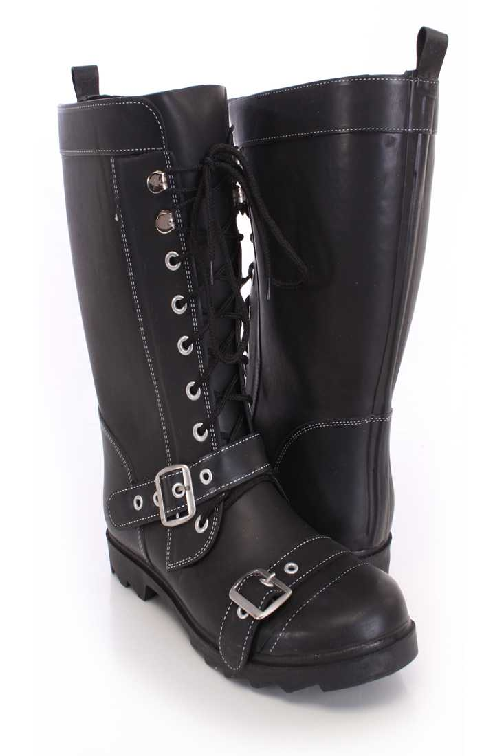 Black Lace Up Strappy Rain Boots Rubber