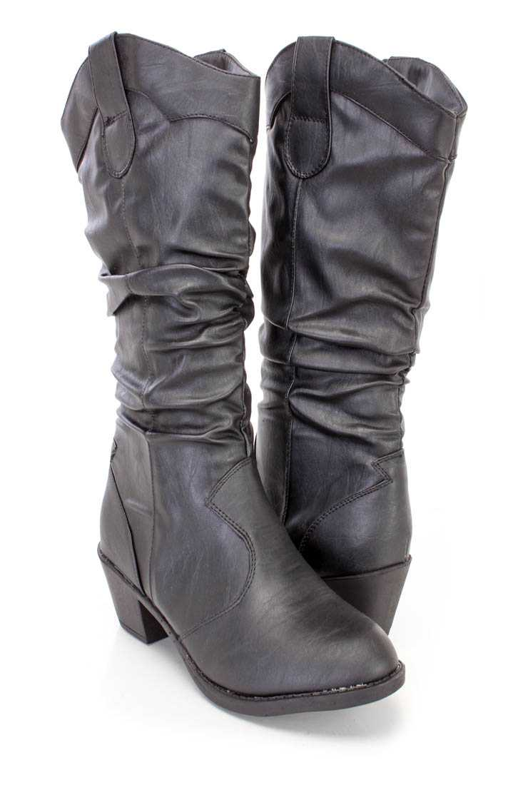 Black Slouchy Western Style Boots Faux Leather