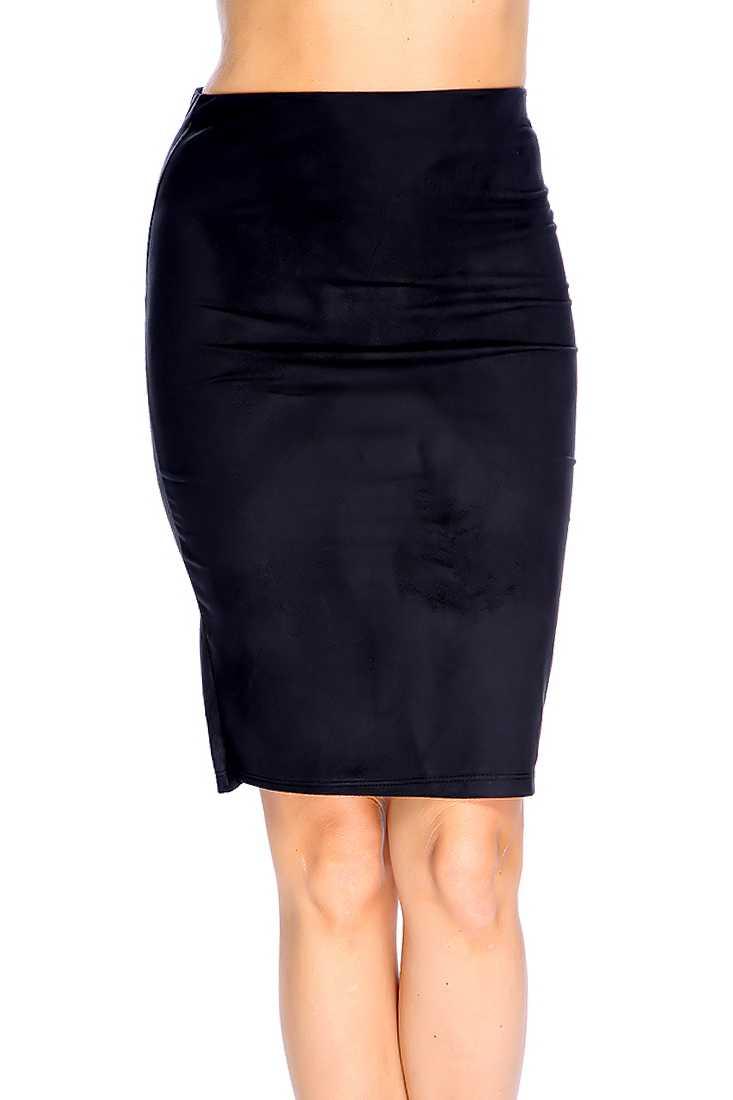 Black High Waist Pencil Skirt