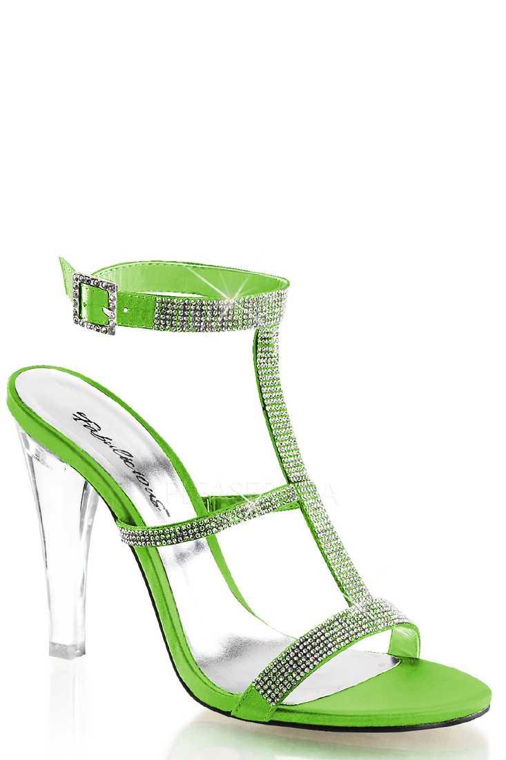 Apple Green Rhinestone T Strap Satin High Heels