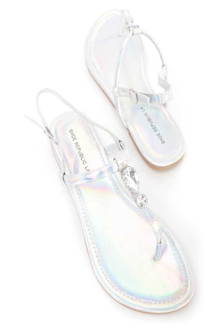 Silver Faceted Gemstone Decor Thong Sandals Faux Leather