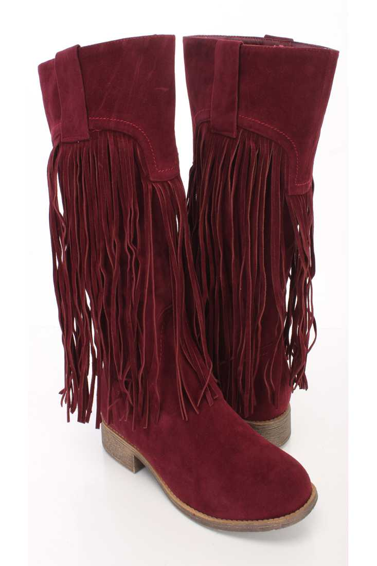 Maroon Fringe Closed Toe Mid Calf Boots Faux Suede