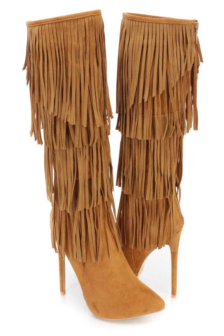 Tan Fringe Tiered Heel Boots Faux Suede