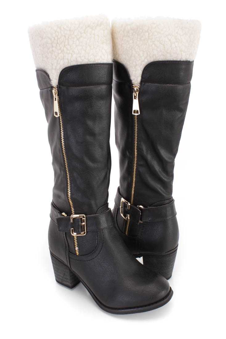 Black Faux Shearing Chunky Heel Boots Faux Leather