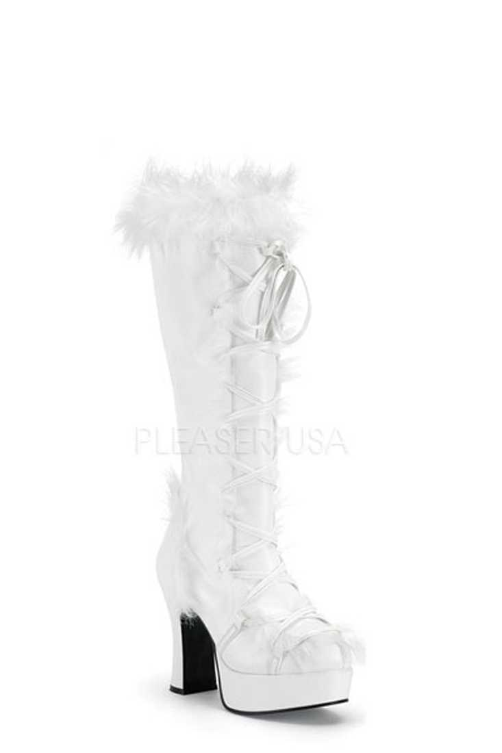 White Lace Up Tie Faux Fur Trimmed Boots Faux Leather