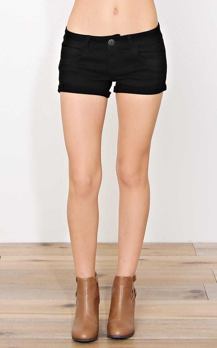 PARIS BLUES Black Cuffed Denim Shorts - Black Denim in Size by Styles For Less