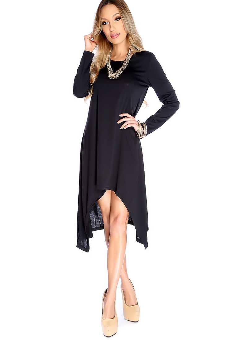 Black Long Sleeve High Low Causal Dress