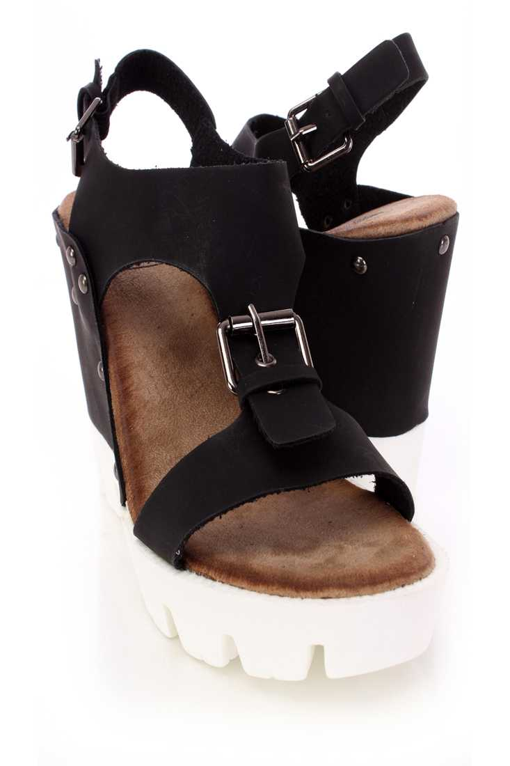 Black Buckle T Strap Wedges Faux Leather