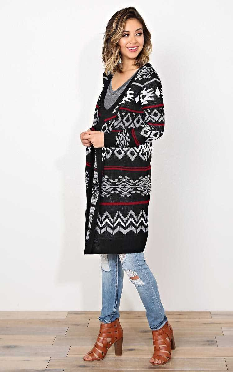 Nordic Winter Sweater Knit Wrap - - Black Combo in Size by Styles For Less