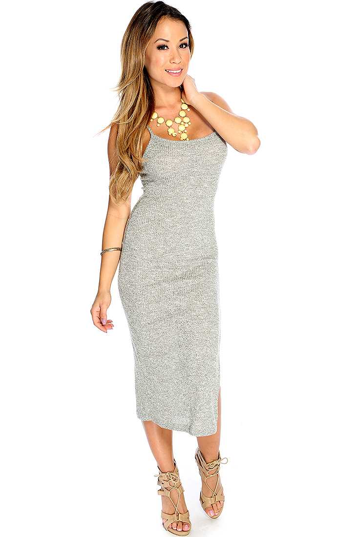 Sexy Light Grey Criss Cross Back Side Slit Party Dress