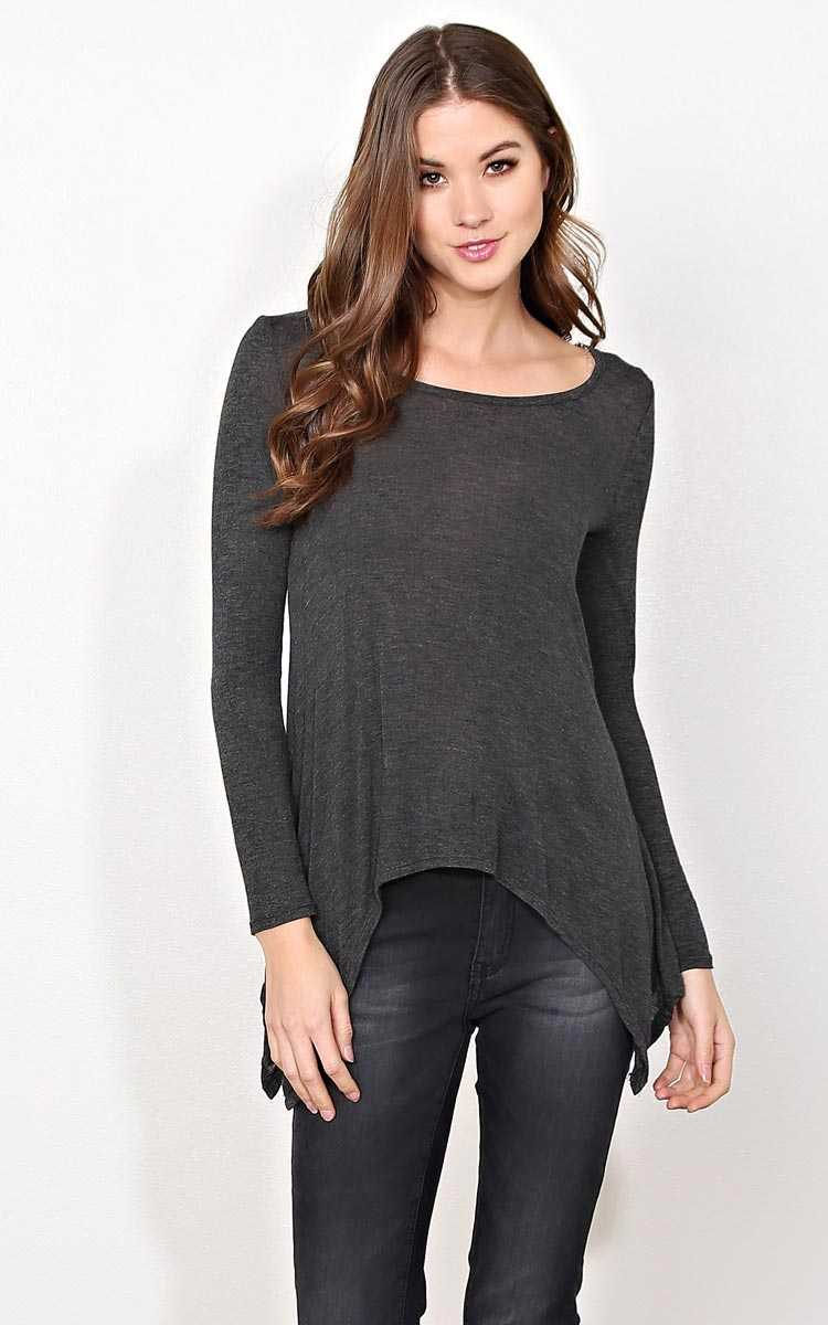 Cool Rush Knit Top - SML - Charcoal in Size Small by Styles For Less