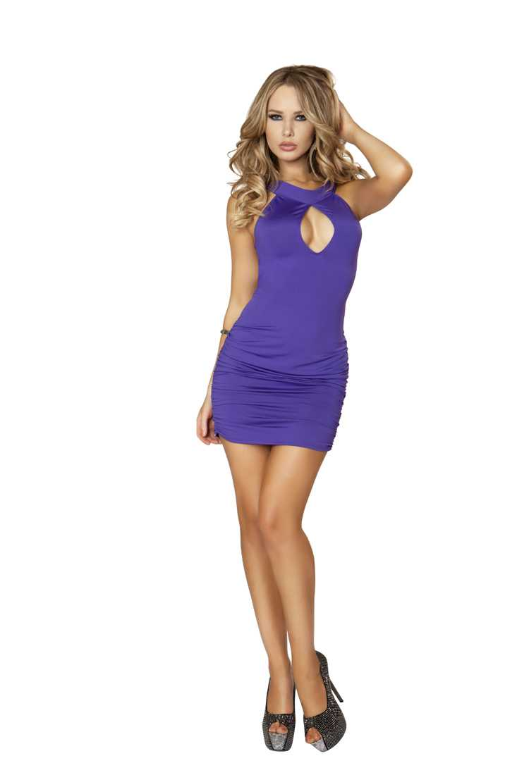 Purple O-Ring Strappy Cut Out Scrunched Sexy Mini Dress