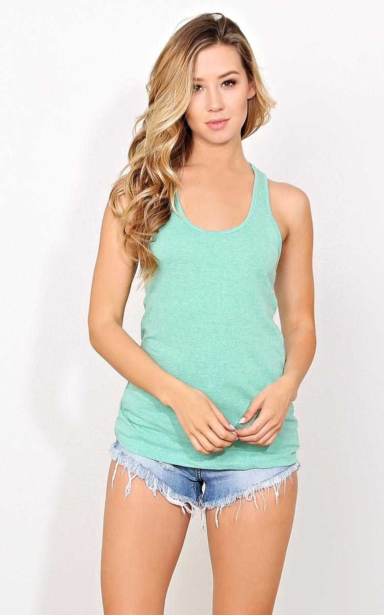 Zenana Outfitters Green Racerback Tank - - Green in Size by Styles For Less