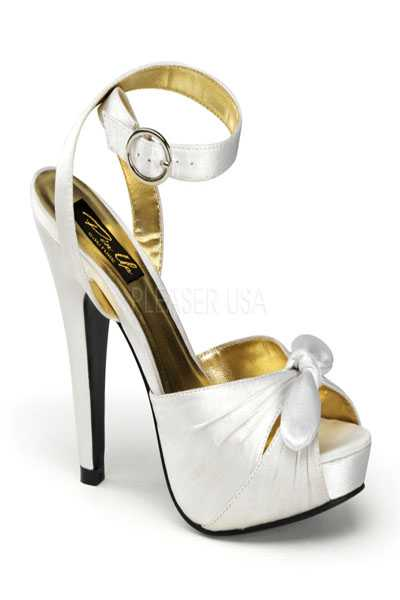 Ivory Satin Fabric Knotted Strapped Peep Toe High Heels