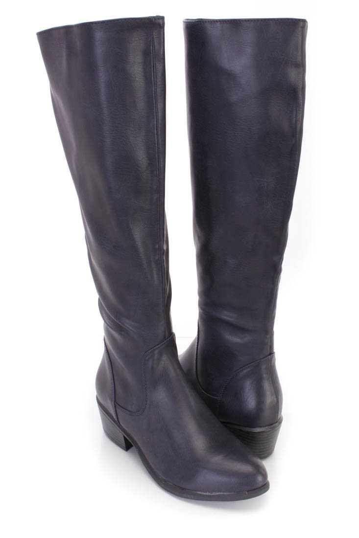 Navy Knee High Riding Boots Faux Leather