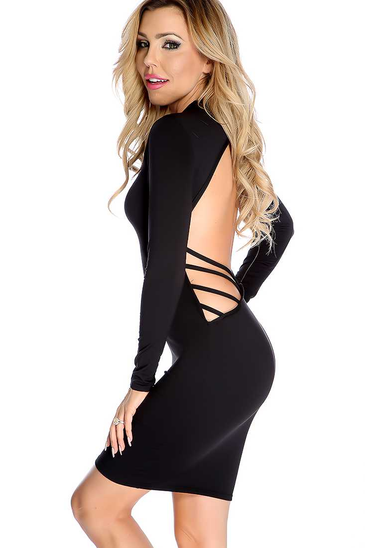 Sexy Black Strappy Cut Out Party Dress