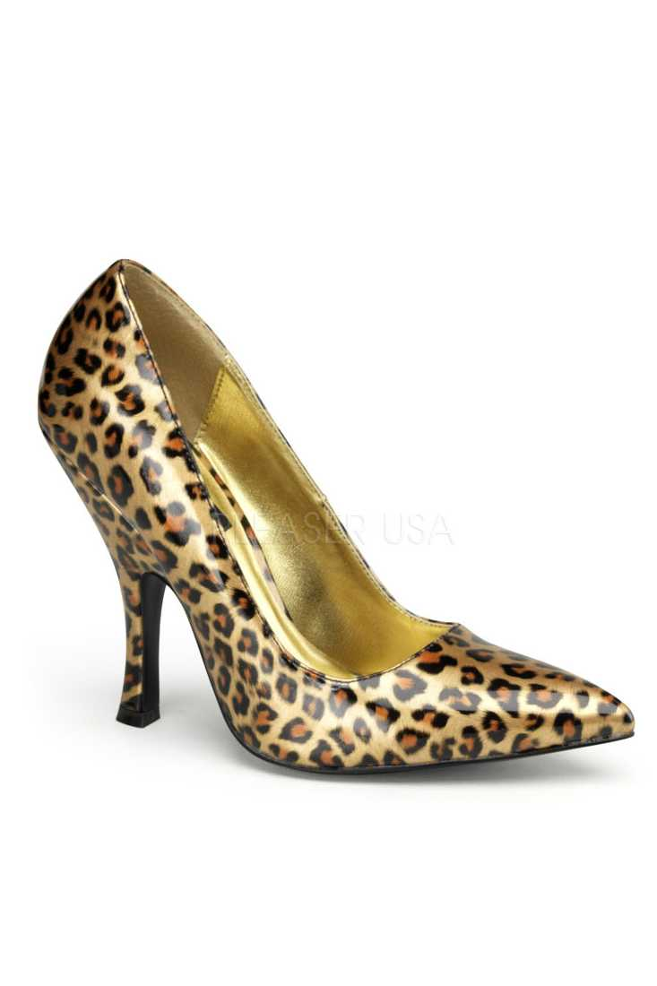 Gold Cheetah Print Single Sole Pump High Heels Patent