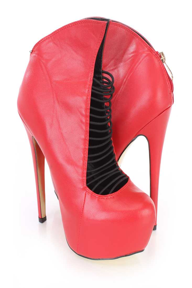 Red Elastic Strappy Platform Heel Booties Faux Leather