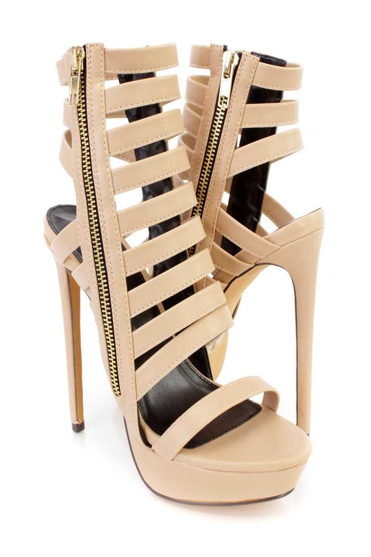 Nude Strappy Platform High Heel Booties Faux Leather