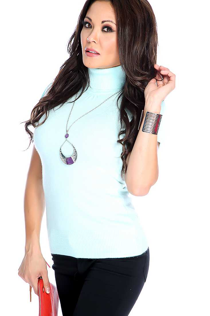 Mint Blue Short Sleeve Turtle Neck Casual Top