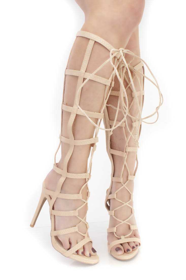 Nude Strappy String Tie Gladiator Heels Faux Leather