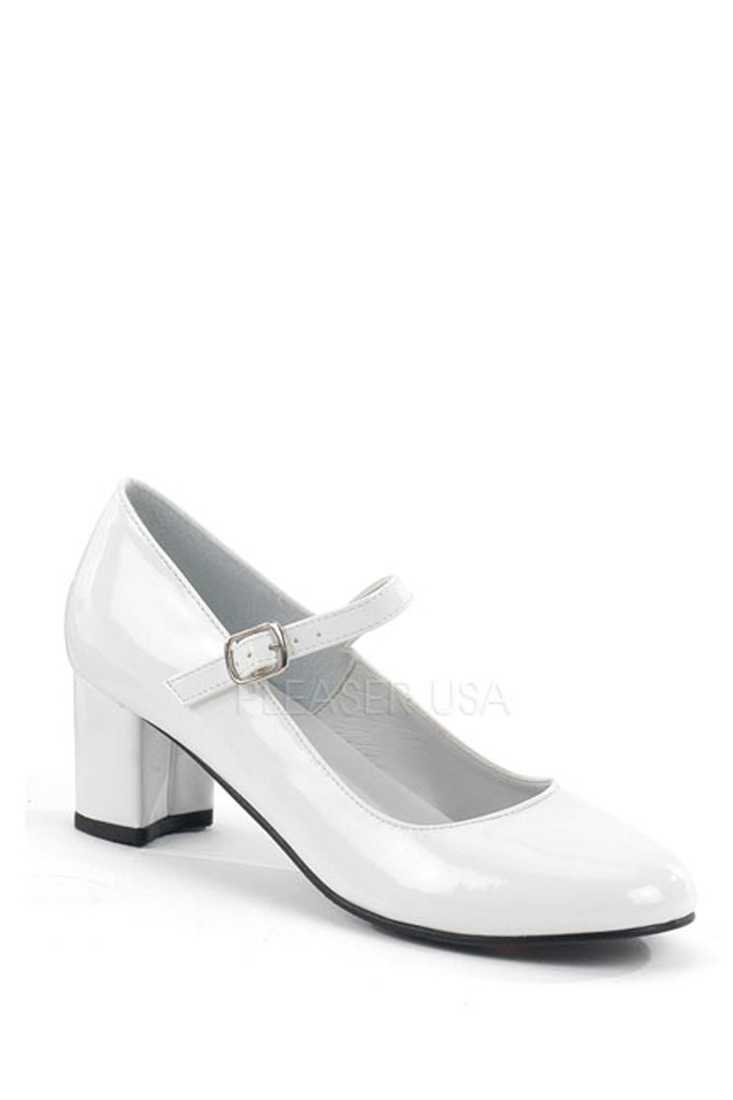 White Maryjane Chunky High Heels Patent