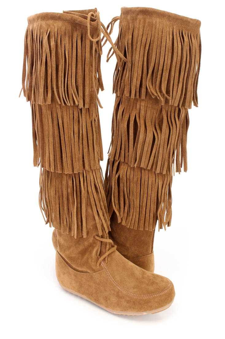 Tan Fringe Tiered Knee High Boots Faux Suede