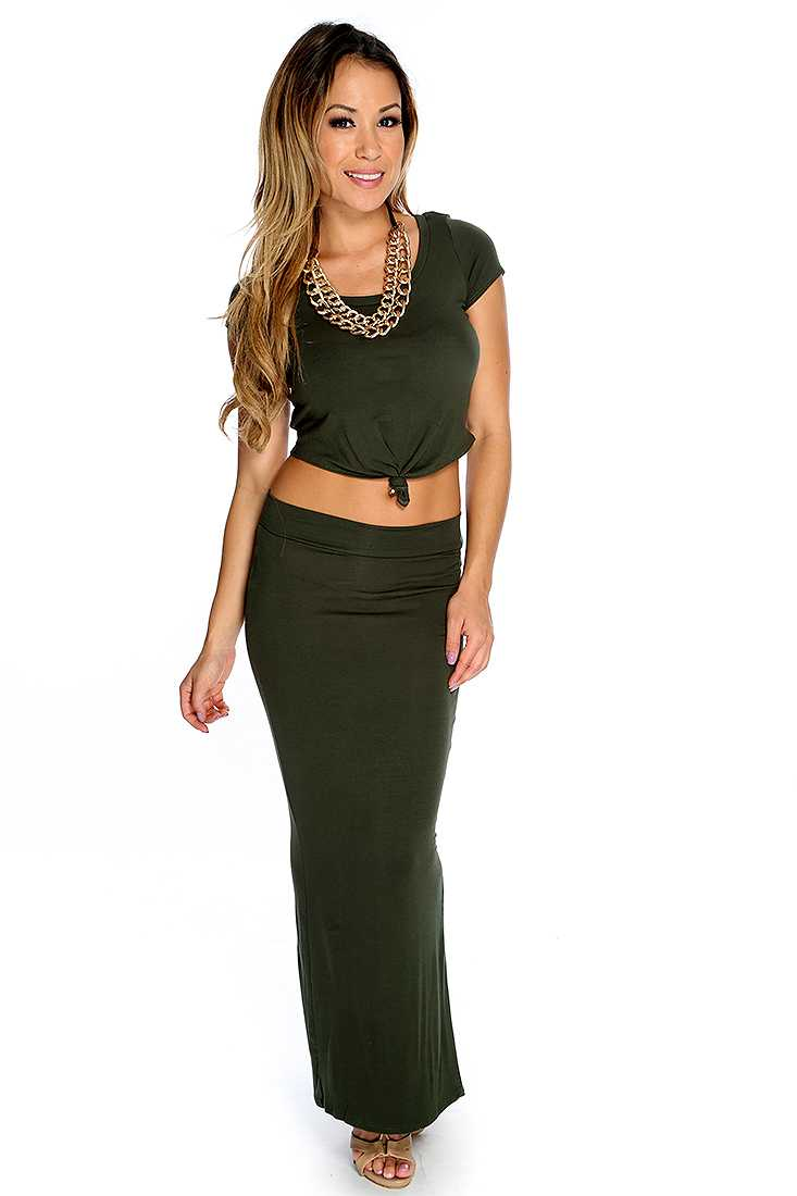 Sexy Army Green Short Sleeve Maxi Skirt 2 Piece Party Dress