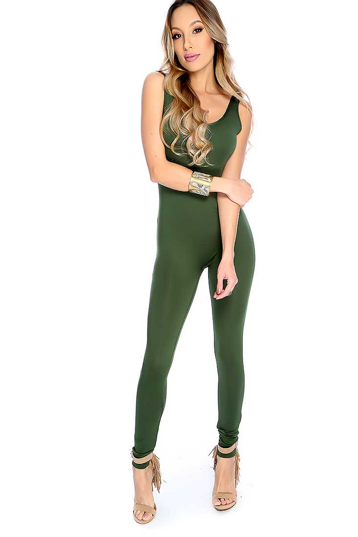 Sexy Olive Sleeveless Backless Jumpsuit