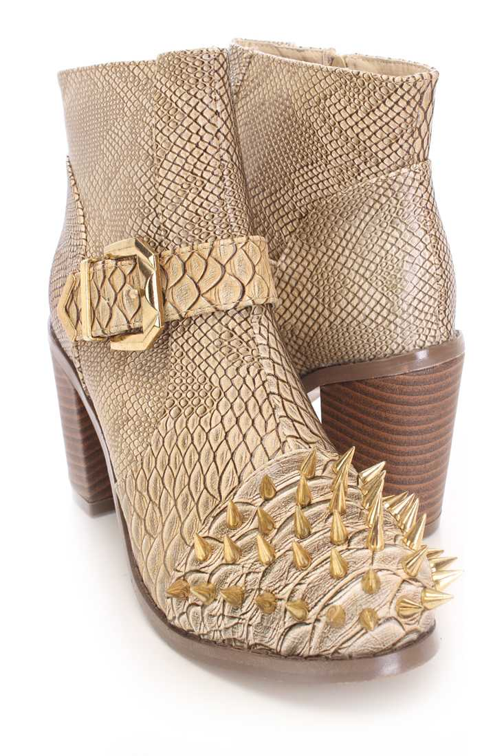 Beige Spike Studed Ankle Booties Faux Croc
