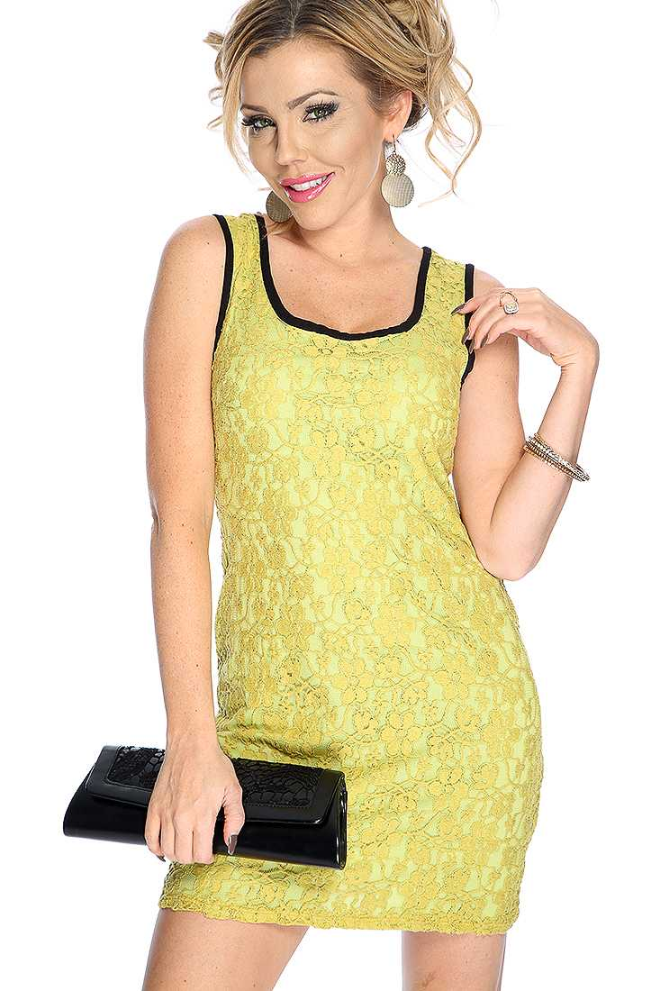 Sexy Chartreuse Floral Lace Overlay Sleeveless Party Dress