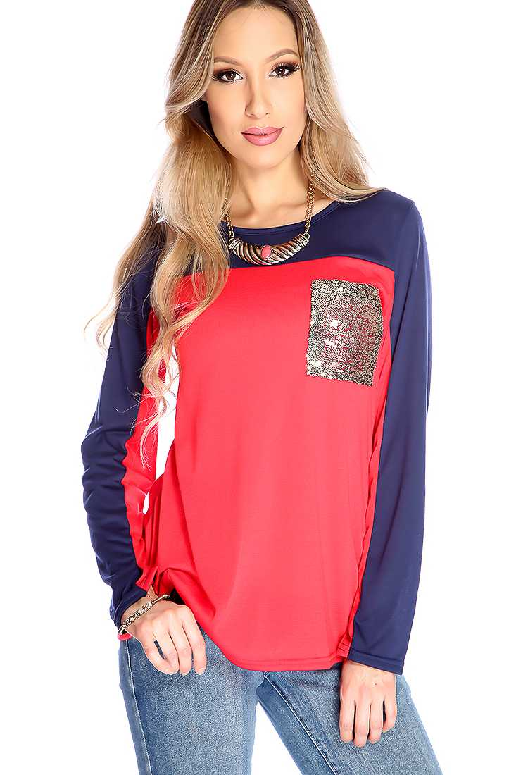 Red Navy Long Sleeve Sequence Detail Casual Top